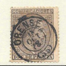 Sellos: ALFONSO XII EDIFIL 192 10 CENTIMOS. FECHADOR DE ORENSE 1878. Lote 243259070