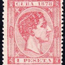 Sellos: 1878 CUBA EDIFIL 49 ALFONSO XII 1 PESETA CARMÍN *. Lote 243273320