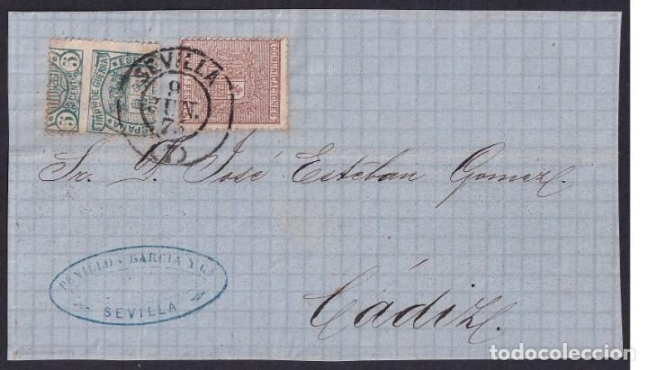 1875. SEVILLA A CÁDIZ. 10 CTS. CASTAÑO Y 5 CTS. VERDE IG ED 153 Y 154DH VAR. ÚNICO FRONTAL CONOCIDO (Sellos - España - Alfonso XII de 1.875 a 1.885 - Cartas)