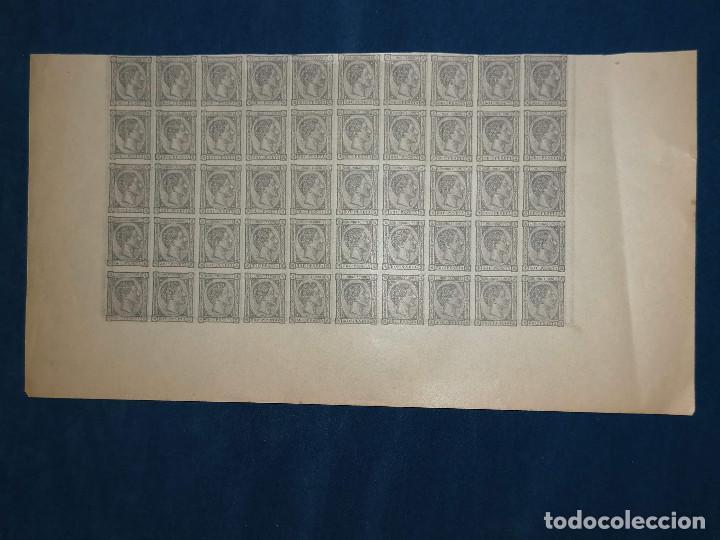 Sellos: España Falso Filatelico lote sellos 50 sellos pliego hoja nuevo Edifil 168 impreso años 1920 aprox - Foto 2 - 243926400