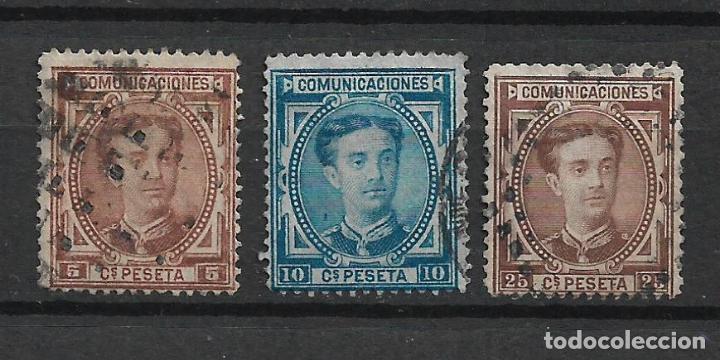 ESPAÑA 1876 EDIFIL 174 + 175 + 177 USADO - 1/6 (Sellos - España - Alfonso XII de 1.875 a 1.885 - Usados)