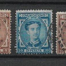 Sellos: ESPAÑA 1876 EDIFIL 174 + 175 + 177 USADO - 1/6. Lote 245753455