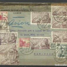 Francobolli: CARTA CIRCULADA DE CADIZ A NUEVA YORK CON FRANQUEO MULTIPLE. Lote 247312695