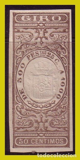 FISCALES GIRO, PAPEL TIMBRADO 50 CTS CASTAÑO (*) (Sellos - España - Alfonso XII de 1.875 a 1.885 - Nuevos)
