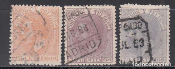 ESPAÑA, 1882 EDIFIL Nº 210, 211, 212, ALFONSO XII. (Sellos - España - Alfonso XII de 1.875 a 1.885 - Usados)