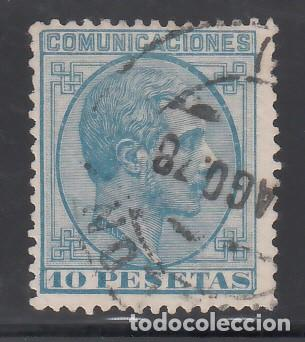 ESPAÑA, 1878 EDIFIL Nº 199, 10 PTS AZUL. ALFONSO XII (Sellos - España - Alfonso XII de 1.875 a 1.885 - Usados)