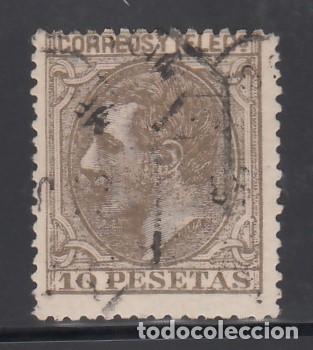 ESPAÑA, 1879 EDIFIL Nº 209, 10 PTS SEPIA OLIVA, ALFONSO XII (Sellos - España - Alfonso XII de 1.875 a 1.885 - Usados)