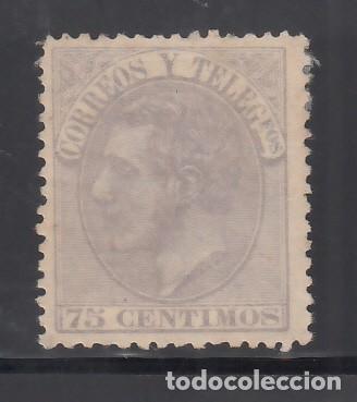 ESPAÑA, 1879 EDIFIL Nº 212 (*), 75 C. VIOLETA GRISÁCEO, ALFONSO XII (Sellos - España - Alfonso XII de 1.875 a 1.885 - Nuevos)