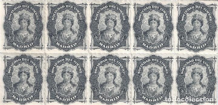 FISCAL. SOCIEDAD DEL TIMBRE MADRID. AÑO 1876 (BLOQUE DE 10). LUJO. MNH ** (Sellos - España - Alfonso XII de 1.875 a 1.885 - Nuevos)