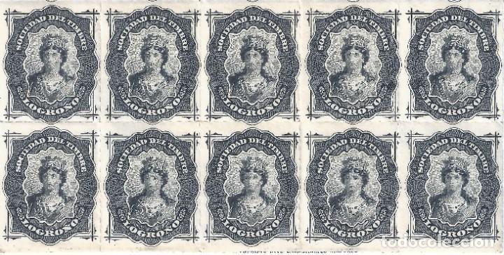 FISCAL. SOCIEDAD DEL TIMBRE LOGROÑO. AÑO 1876 (BLOQUE DE 10). LUJO. MNH ** (Sellos - España - Alfonso XII de 1.875 a 1.885 - Nuevos)