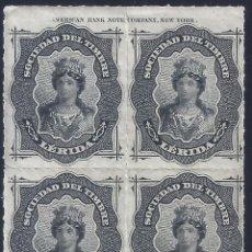 Selos: FISCAL. SOCIEDAD DEL TIMBRE LÉRIDA. AÑO 1876 (BLOQUE DE 4). LUJO. MNH **. Lote 258218840