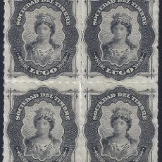 Selos: FISCAL. SOCIEDAD DEL TIMBRE LUGO. AÑO 1876 (BLOQUE DE 4). LUJO. MNH **. Lote 258219515