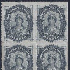 Selos: FISCAL. SOCIEDAD DEL TIMBRE MADRID. AÑO 1876 (BLOQUE DE 4). LUJO. MNH **. Lote 258219670