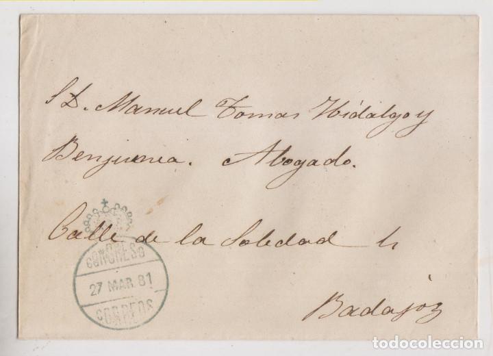 SOBRE. A BADAJOZ. FRANQUICIA DEL CONGRESO. 1881 (Sellos - España - Alfonso XII de 1.875 a 1.885 - Cartas)