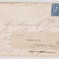 Sellos: SOBRE CON CARTA. MILÁN A LONDRES. 1882. RARÍSIMA ETIQUETA ENCAMINADOR DE VALENCIA. TRENOR & CO.. Lote 265363259
