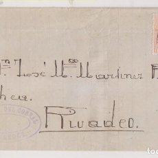 Sellos: ENVUELTA. SANTANDER, CANTABRIA. 1884. A RIBADEO, LUGO. TRÉBOL. MATASELLADA A LA LLEGADA. Lote 265375714