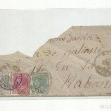 Francobolli: FRAGMENTO CIRCULADO 1881 DE LA PRAVIA OVIEDO A LA HABANA. Lote 265468559
