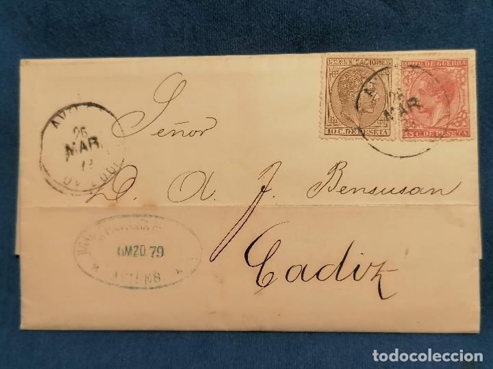 ESPAÑA CARTA AVILES A CADIZ MINAS DE CARBON SELLO EDIFIL 188,192 AÑO 1879 MUY CONSERVADA (Sellos - España - Alfonso XII de 1.875 a 1.885 - Cartas)