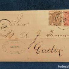 Sellos: ESPAÑA CARTA AVILES A CADIZ MINAS DE CARBON SELLO EDIFIL 188,192 AÑO 1879 MUY CONSERVADA. Lote 267137044