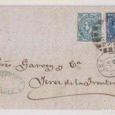 Sellos: CARTA ENTERA. CÁDIZ A JEREZ DE LA FRONTERA. 1876. IMPUESTO DE GUERRA. Lote 267291234