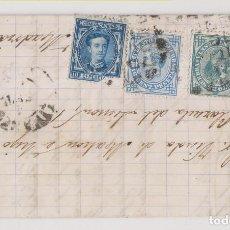 Sellos: CARTA ENTERA. 1877. LINARES, JAÉN. RARO FRANQUEO SELLOS 5 Y 10 CTS DE IMPUESTO DE GUERRA. Lote 267513009
