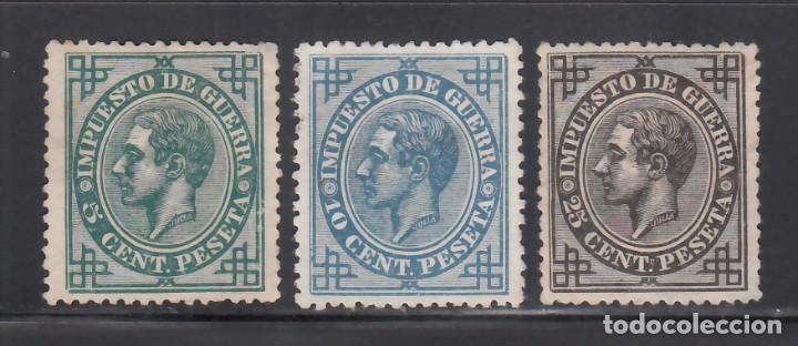 ESPAÑA, 1877 EDIFIL Nº 183, 184, 185 (*), IMPUESTOS DE GUERRA (Sellos - España - Alfonso XII de 1.875 a 1.885 - Nuevos)