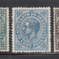Francobolli: ESPAÑA, 1877 EDIFIL Nº 183, 184, 185 (*), IMPUESTOS DE GUERRA. Lote 268418919