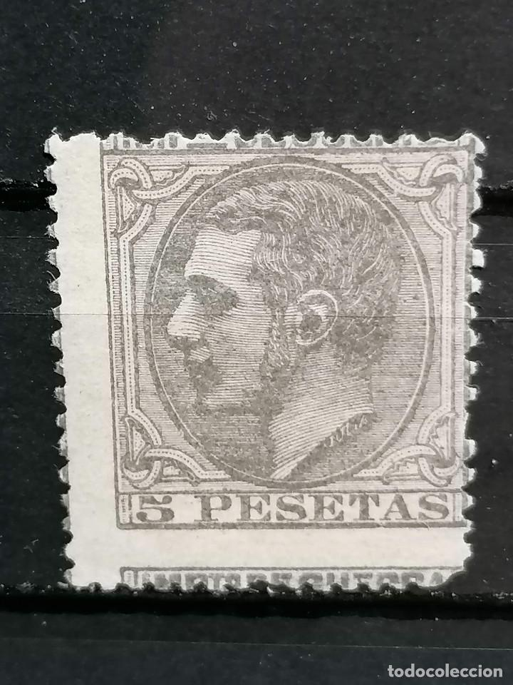ESPAÑA SELLOS ALFONSO XII 5 PESETAS EDIFIL NE 10 NO EMITIDO NUEVO * CON MARQUILLA DE AUTENTICIDAD (Sellos - España - Alfonso XII de 1.875 a 1.885 - Nuevos)