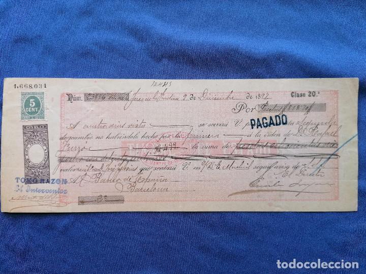 ESPAÑA SELLOS PAGARE AÑO 1897 SELLO EDIFIL 232 SELLO NUEVO BANCO ESPAÑA BARCELONA (Sellos - España - Alfonso XII de 1.875 a 1.885 - Usados)