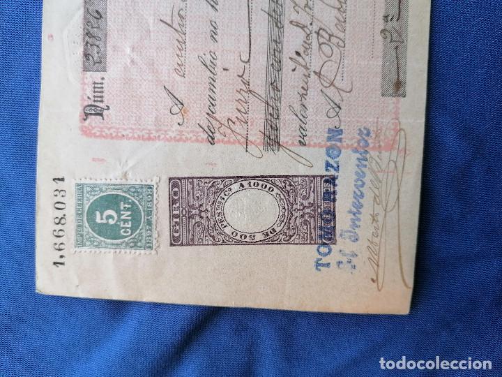 Sellos: España sellos Pagare año 1897 sello Edifil 232 sello nuevo BANCO ESPAÑA Barcelona - Foto 2 - 274022788