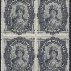 Francobolli: FISCAL. SOCIEDAD DEL TIMBRE LÉRIDA. AÑO 1876 (BLOQUE DE 4). LUJO. MNH **. Lote 275218628