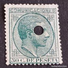 Sellos: ESPAÑA, 1878. ALFONSO XII, EDIFIL 196T, 196 TELÉGRAFOS, TALADRO, ( LOTE AR ). Lote 277259653