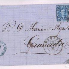 Sellos: ENVUELTA. MADRID A GRANADA. 1878. TRÉBOL E IMPUESTO DE GUERRA. Lote 277846968