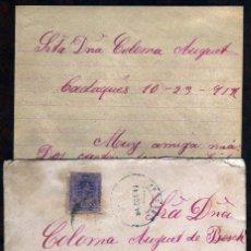 Sellos: GIROEXLIBRIS. ALFONSO XII.- CARTA MANUSCRITA CIRCULADA DESDE CADAQUÉS A GIRONA EN OCTUBRE DE 1912. Lote 278346963