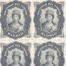 Francobolli: FISCAL. SOCIEDAD DEL TIMBRE MADRID. AÑO 1876 (BLOQUE DE 4). LUJO. MNH **. Lote 285753253