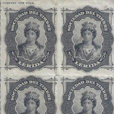 Francobolli: FISCAL. SOCIEDAD DEL TIMBRE LÉRIDA. AÑO 1876 (BLOQUE DE 4). LUJO. MNH **. Lote 285753953