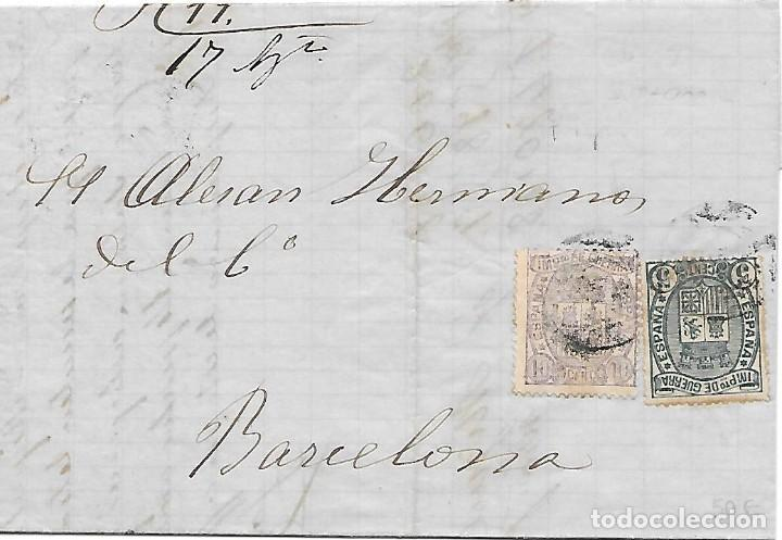 EDIFIL 154-155 SERIE COMPLETA DE IMPUESTO DE GUERRA. ENVUELTA DE FIGUERAS A BARCELONA 1875 (Sellos - España - Alfonso XII de 1.875 a 1.885 - Cartas)