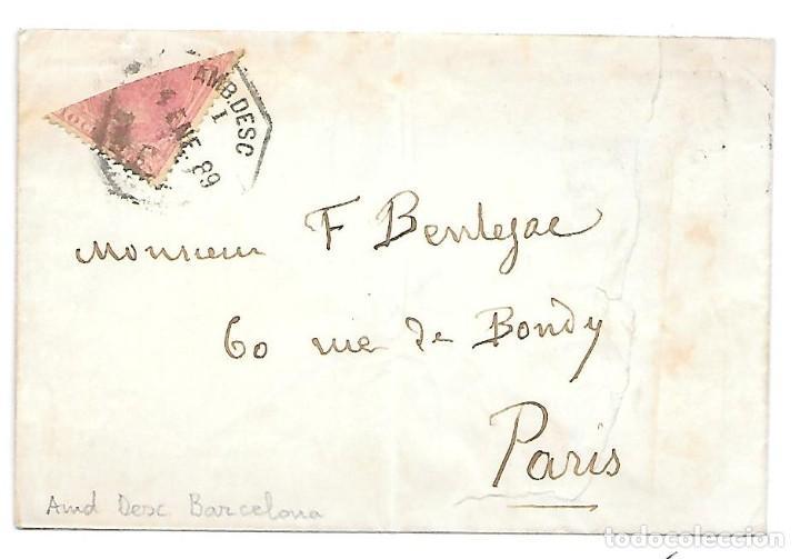 EDIFIL 202 BISECTADO. SOBRE CIRCULADO DE BARCELONA A PARIS 1889 (Sellos - España - Alfonso XII de 1.875 a 1.885 - Cartas)