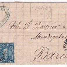 Sellos: CARTA ENTERA. VILAFRANCA DEL PENEDÉS A BARCELONA. 1877. IMPUESTO DE GUERRA. Lote 287372513