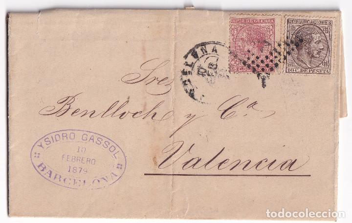 CARTA ENTERA. BARCELONA A VALENCIA. 1879. IMPUESTO DE GUERRA. TRÉBOL DE LLEGADA (Sellos - España - Alfonso XII de 1.875 a 1.885 - Cartas)