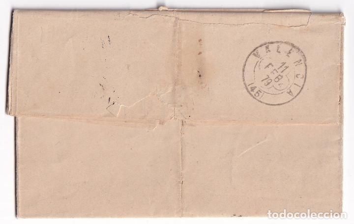 Sellos: CARTA ENTERA. BARCELONA A VALENCIA. 1879. IMPUESTO DE GUERRA. TRÉBOL DE LLEGADA - Foto 2 - 287373318
