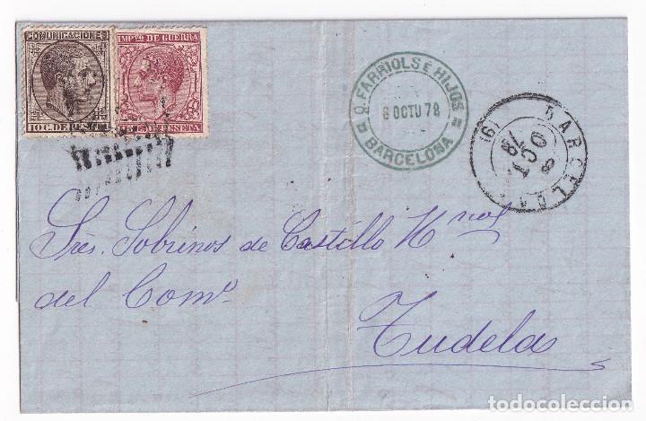 CARTA ENTERA. BARCELONA A TUDELA, NAVARRA. 1878. IMPUESTO DE GUERRA (Sellos - España - Alfonso XII de 1.875 a 1.885 - Cartas)