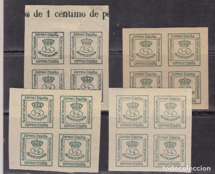 FC3-196 - CLÁSICOS EDIFIL 173 X 4 BLOQUES NUEVOS . VARIEDADES COLOR (Sellos - España - Alfonso XII de 1.875 a 1.885 - Nuevos)