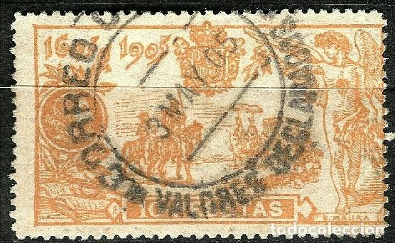 ESPAÑA 1905 QUIJOTE EDIFIL 266 USADO MATASELLOS Y SELLO CENTRADO PRECIOSO (Sellos - España - Alfonso XII de 1.875 a 1.885 - Usados)