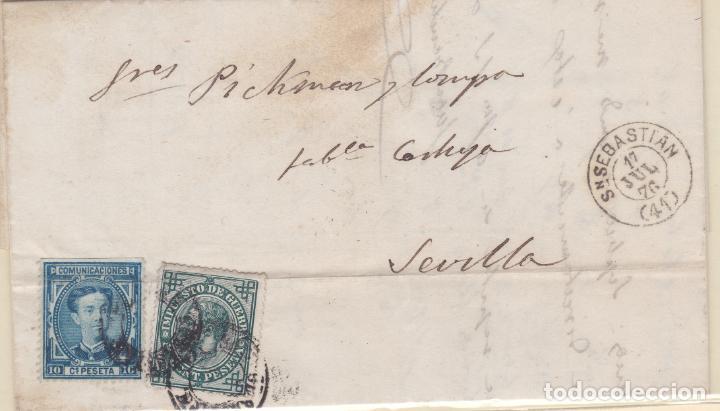 CARTA DE SAN SEBASTIAN A SEVILLA, SELLO 175 Y 183 MATASELLADOS CON FECHADOR DIN BLOQUE FECHADOR (Sellos - España - Alfonso XII de 1.875 a 1.885 - Cartas)