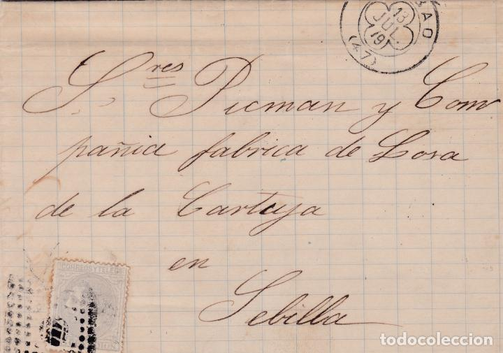 CARTA DE BILBAO A SEVILLA, SELLO 204 MATASELLADOS CON ROMBO ESPECIAL DE BILBAO (TORT 634) (Sellos - España - Alfonso XII de 1.875 a 1.885 - Cartas)