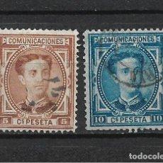 Sellos: ESPAÑA 1876 EDIFIL 174 + 175 USADO - 20/3. Lote 288977958