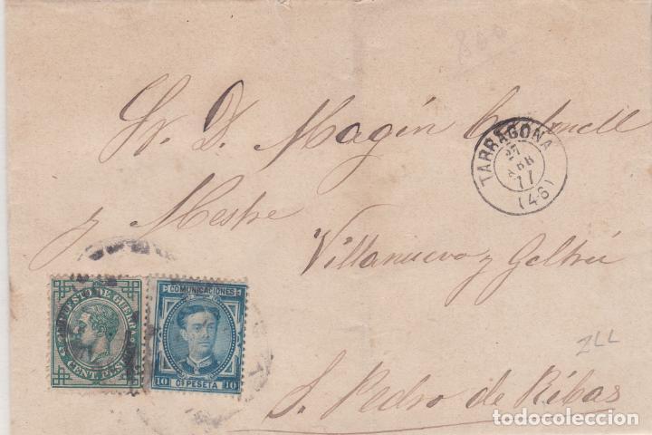 SOBRE DE TARRAGONA A SAN PEDRO DE RIBAS SELLO Nº 175 Y 183 MATASELLADOS. (Sellos - España - Alfonso XII de 1.875 a 1.885 - Cartas)