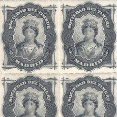 Sellos: FISCAL. SOCIEDAD DEL TIMBRE MADRID. AÑO 1876 (BLOQUE DE 4). LUJO. MNH **. Lote 289410698