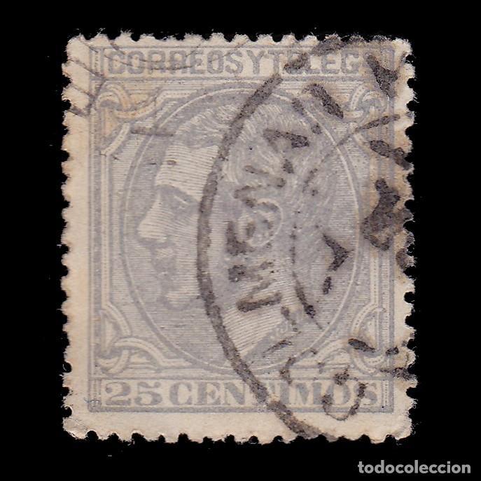 ALFONSO XII.1879.25C.TREBOL.COLMENAR MADRID EDIFIL 204 (Sellos - España - Alfonso XII de 1.875 a 1.885 - Usados)